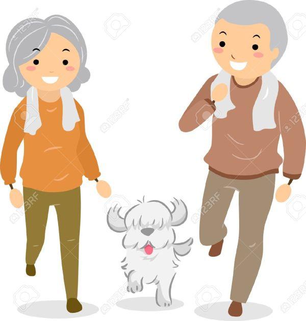 Seniors Walking Clip Art