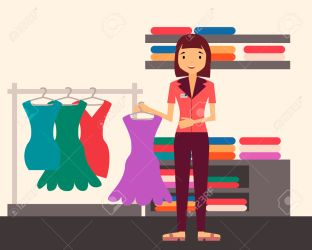 vector clerk clipart sales clothing assistant dress illustration cartoon holding clip clipground help