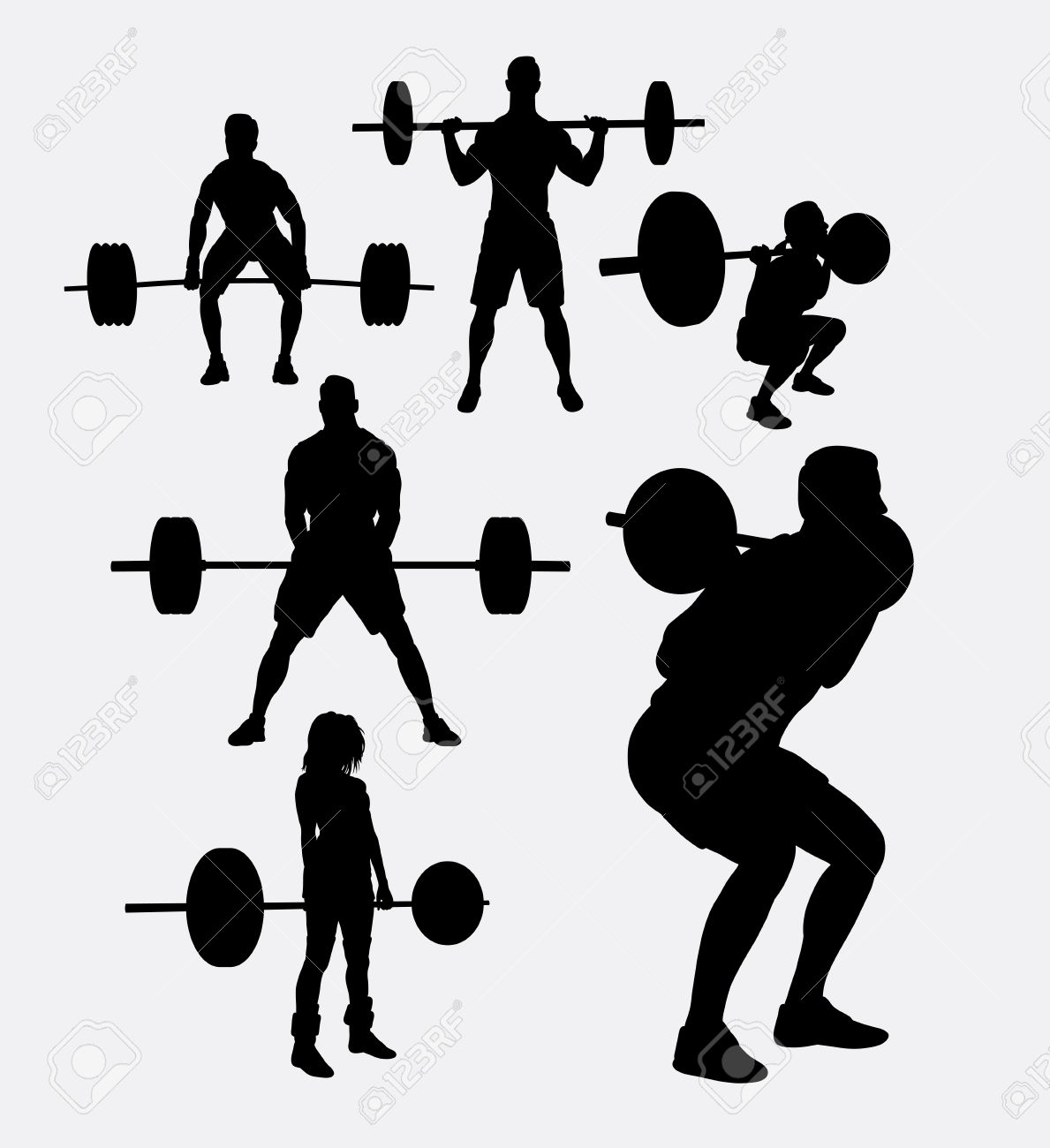 Silhouette Skinny Girl Lifting Weights Free Clipart 20
