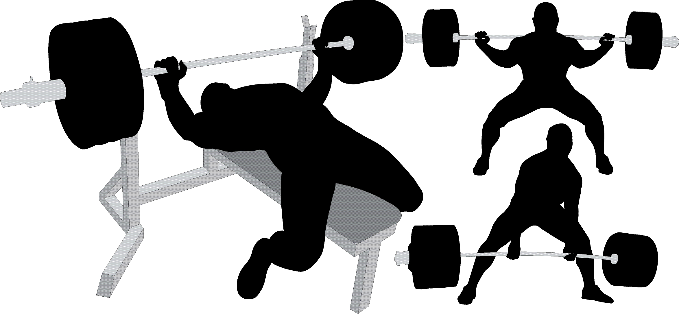 Silhouette Skinny Girl Lifting Weights Free Clipart