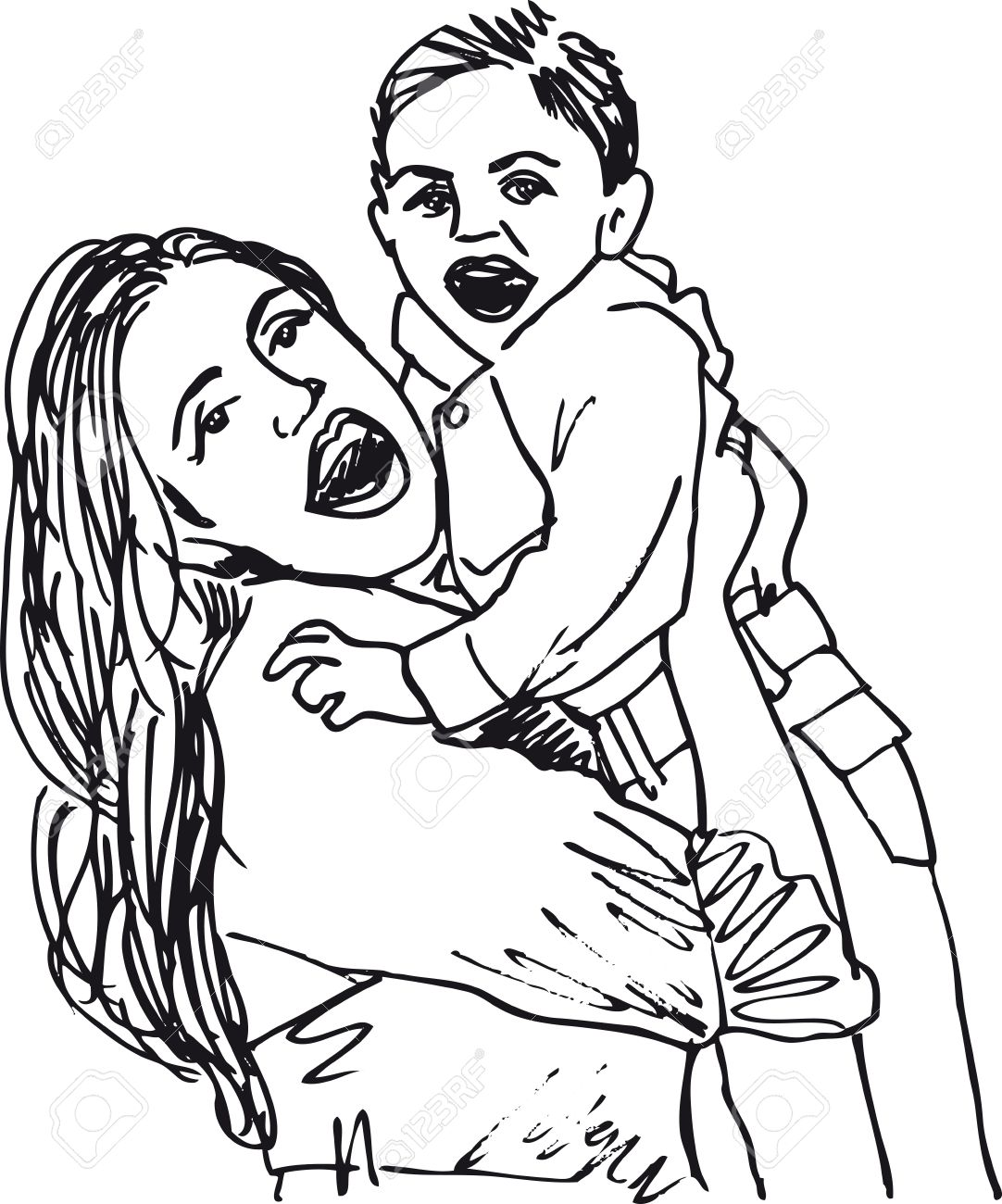 Single Mother And Sons Clipart