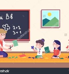 kindergarten teacher teaching math her small stock vector  [ 1500 x 1183 Pixel ]