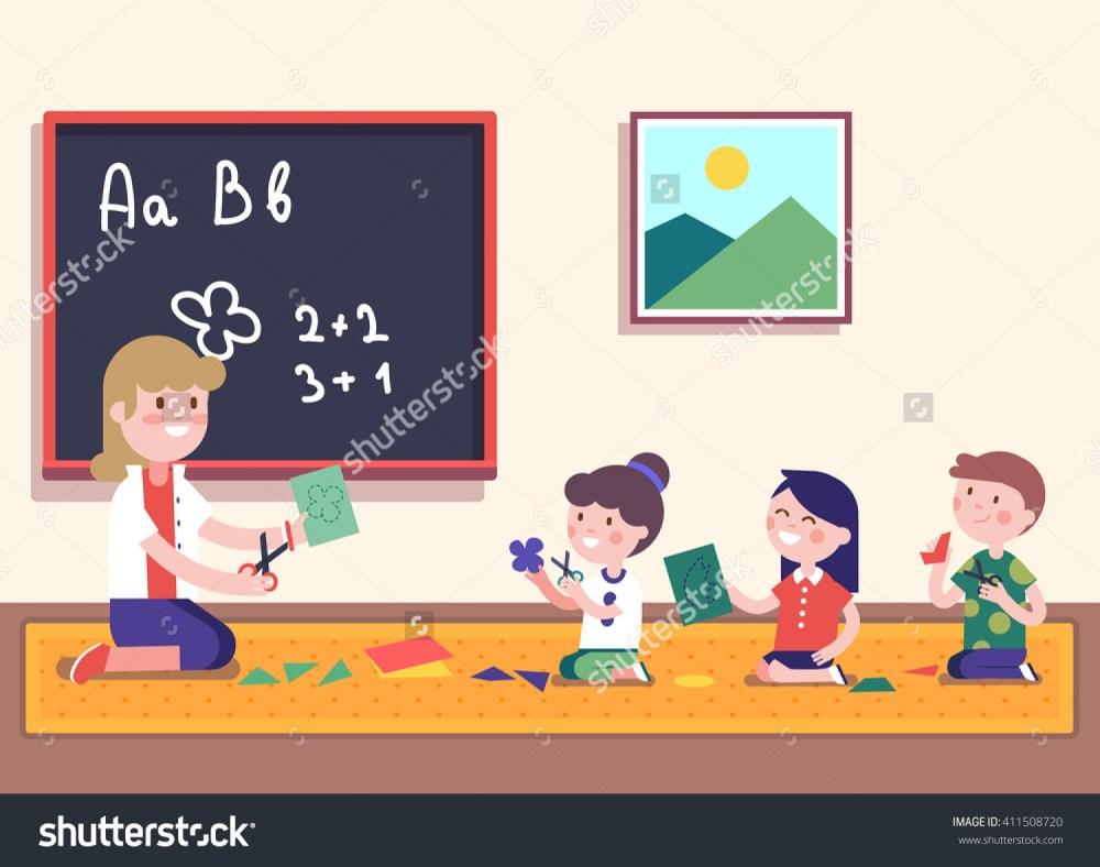 medium resolution of kindergarten teacher teaching math her small stock vector