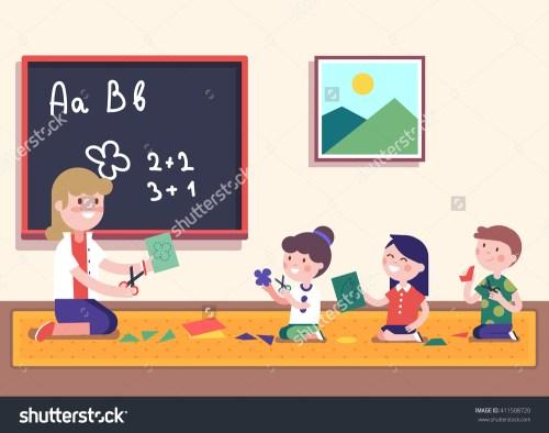 small resolution of kindergarten teacher teaching math her small stock vector