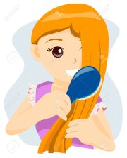 girl fixing hair clipart