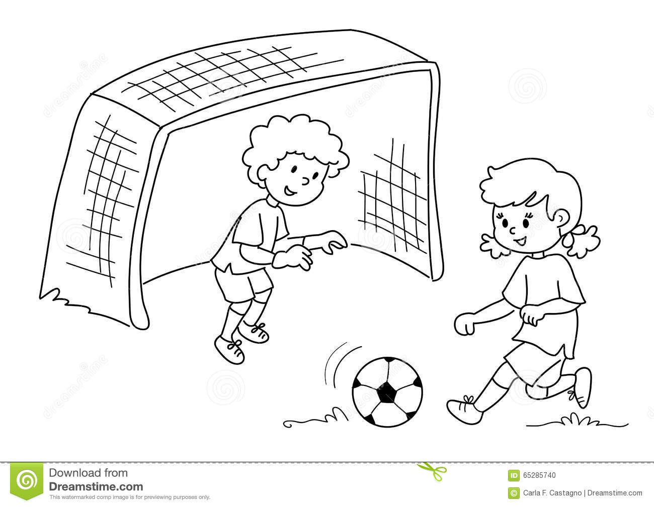 Soccer Kids Clipart Black And White