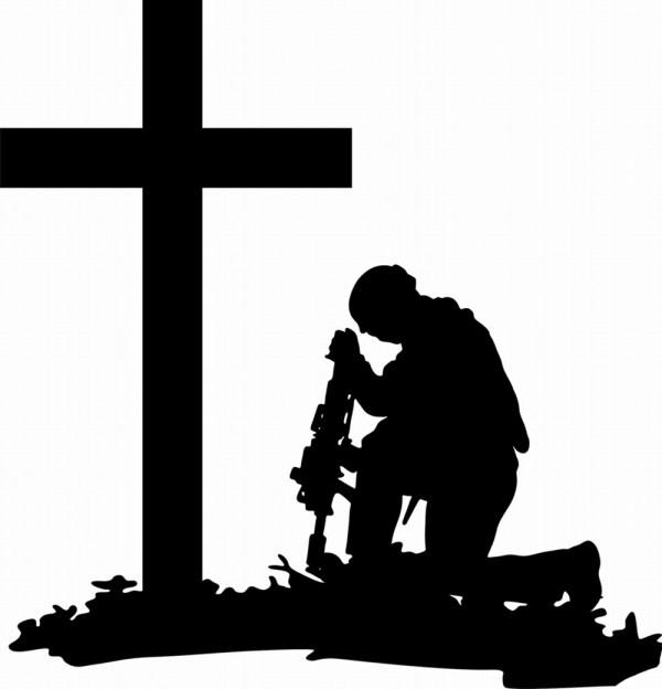 Soldier Kneeling at Cross Silhouette