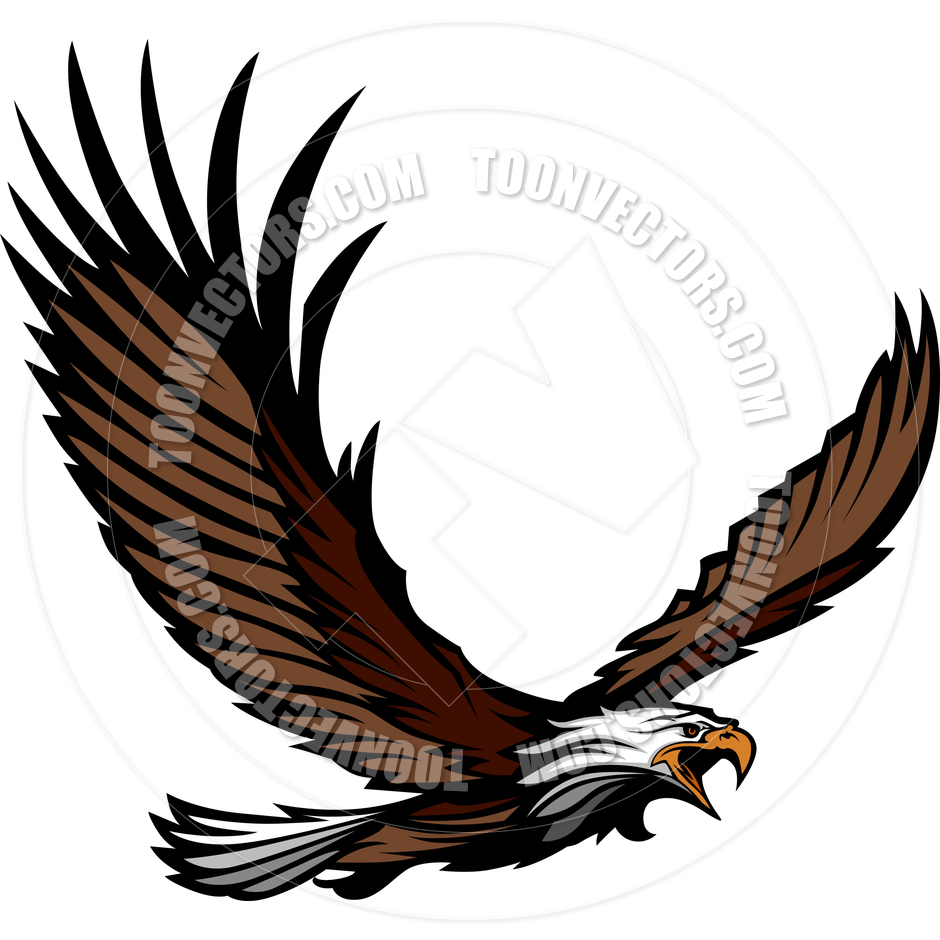 hight resolution of eagle mascot flying with wings spread by chromaco