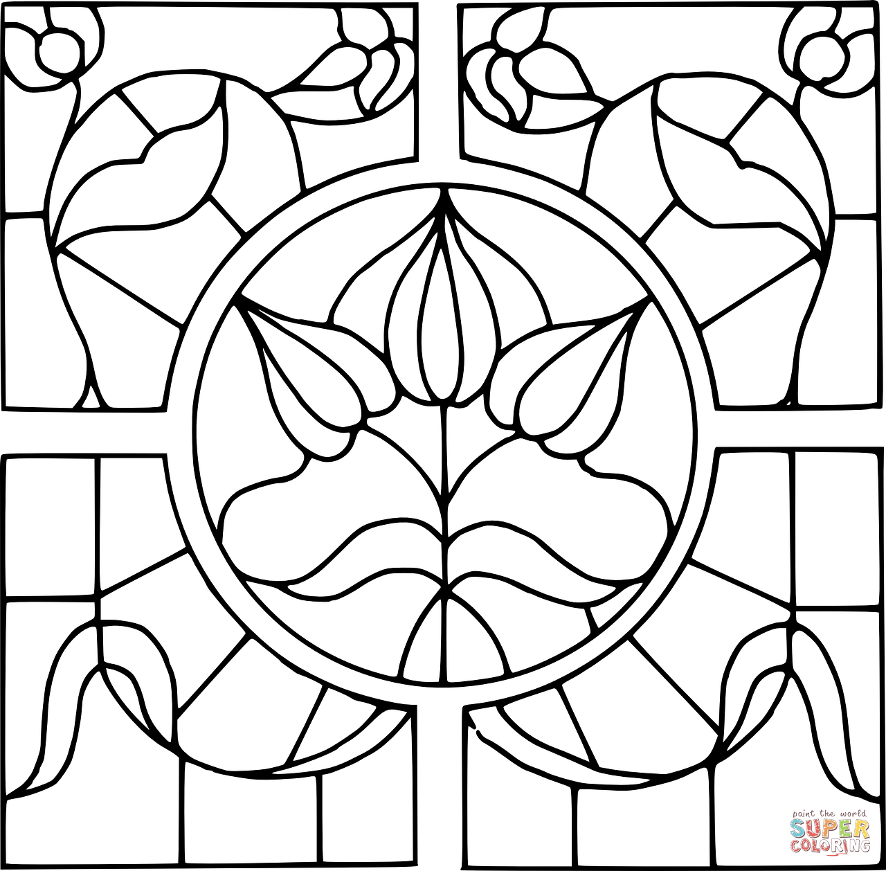 Stained Glass Christmas To Color Black And White Clipart