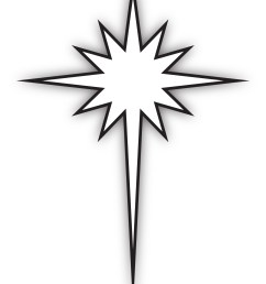 star of bethlehem black and white clipart  [ 1848 x 2551 Pixel ]