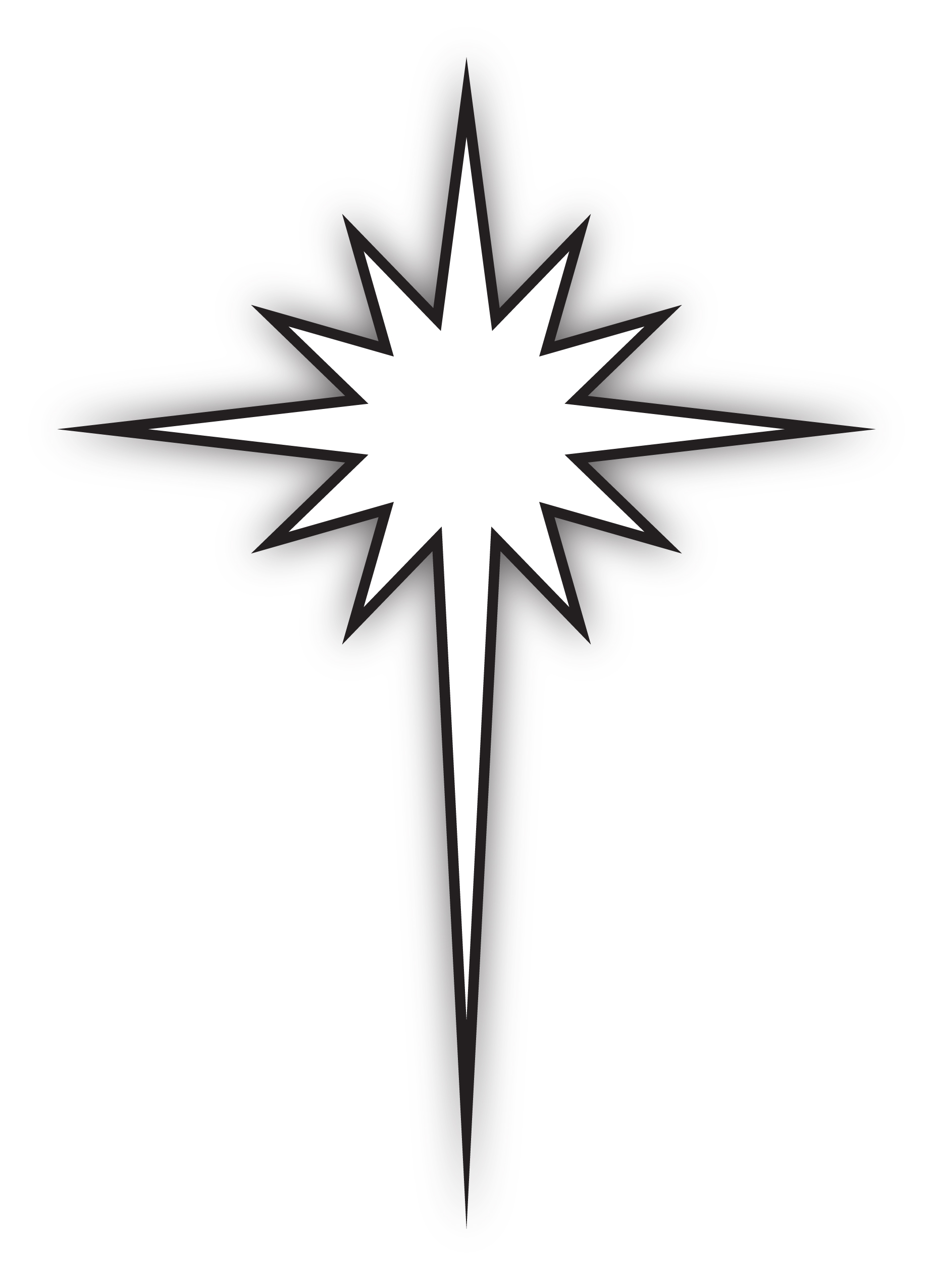 hight resolution of star of bethlehem black and white clipart