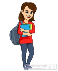 student clipart college teen female clip backpack books cliparts collegiate transparent clipground cliparting webcomicms related