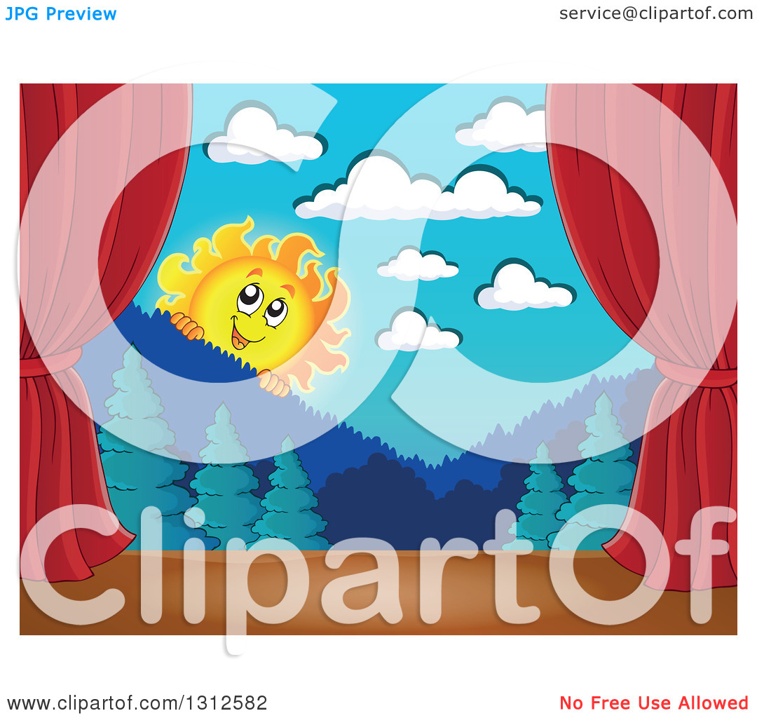 hight resolution of clipart of a happy summer sun looking over mountains and a forest