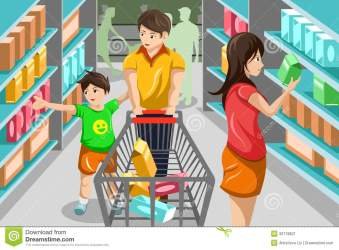 supermarket grocery shopping clipart illustration vector happy clip help mother