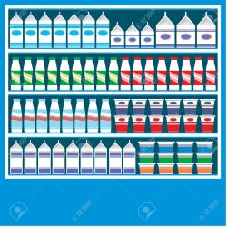 clipart supermarket vector shelves dairy illustration milk eps clipground
