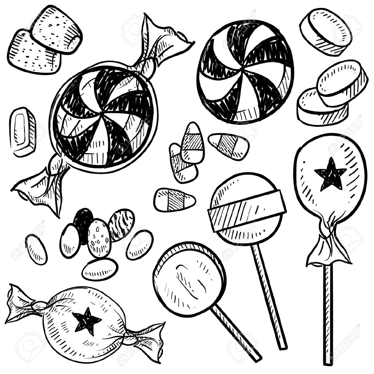 Christmas Candy Clipart Black And White