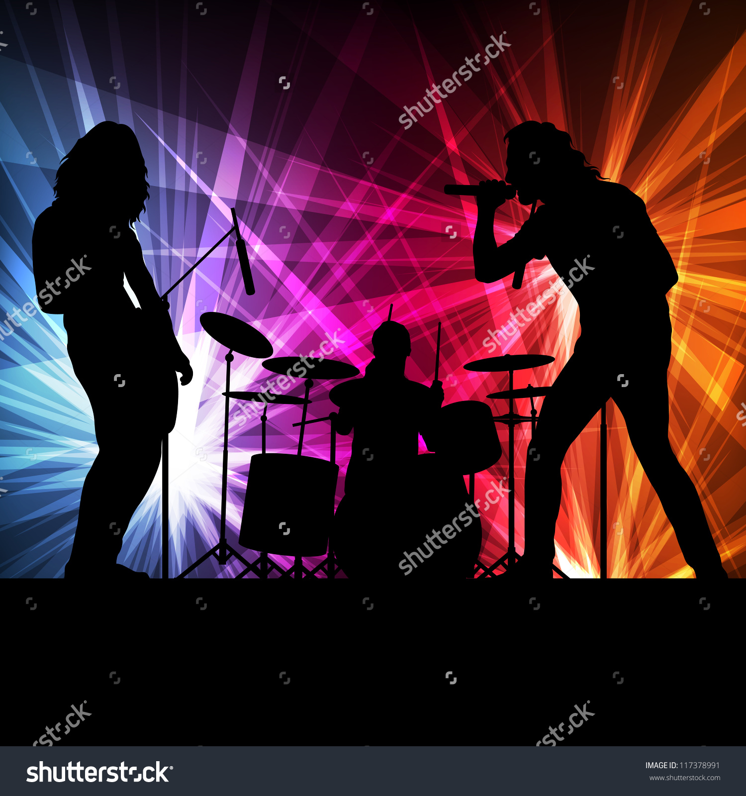 hight resolution of rock band vector background neon lights stock vector 117378991