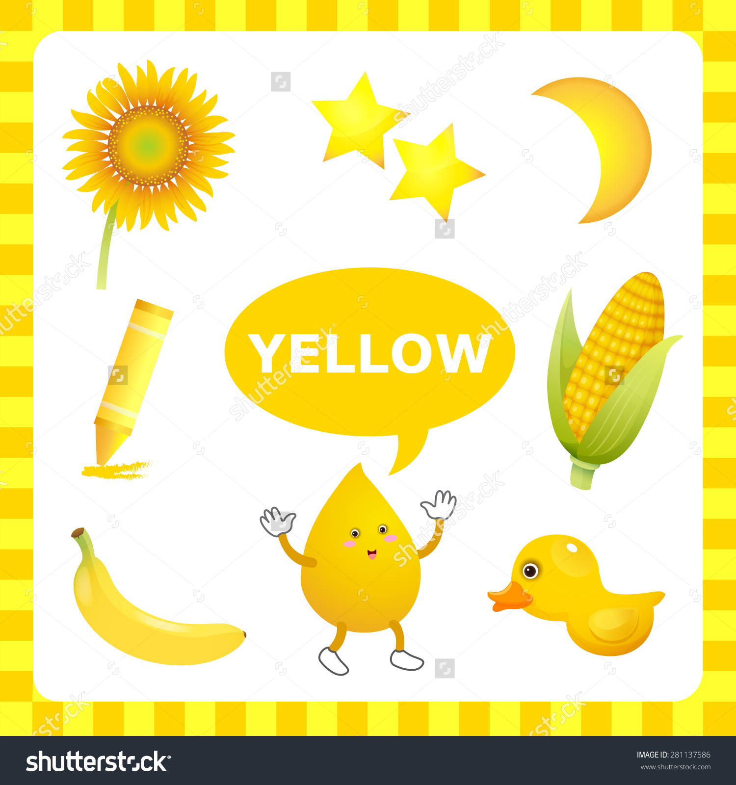 Things That Are Yellow Color Clipart