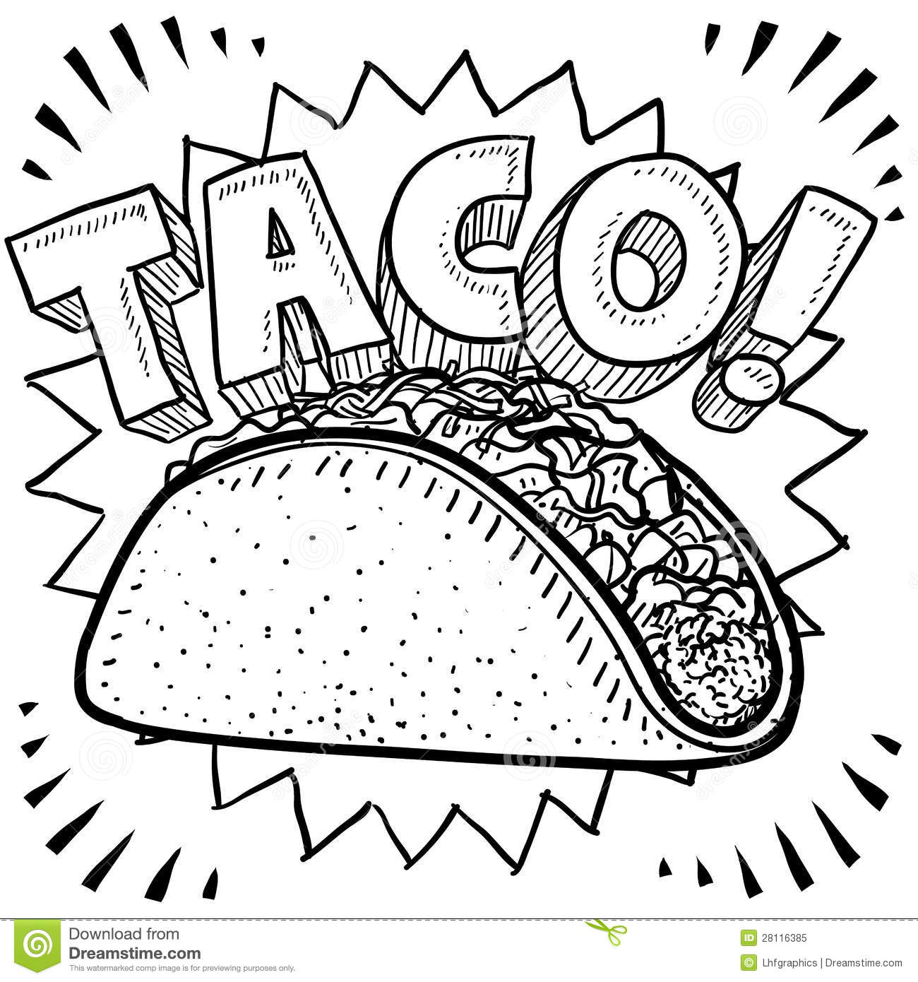Cute Taco Clipart Black And White