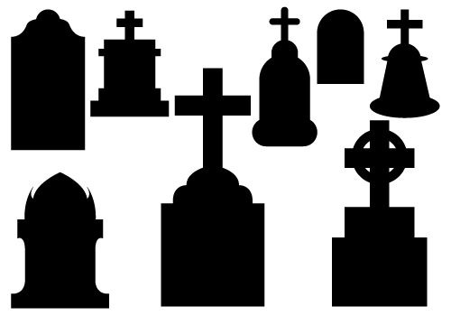 tombstone clipart black and white