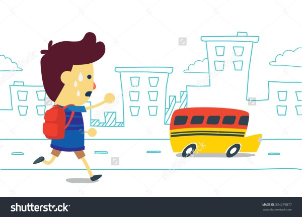 Running Late for the School Bus Clip Art