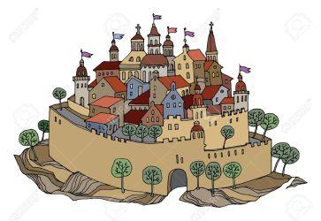 Cartoon Medieval Town Drawing