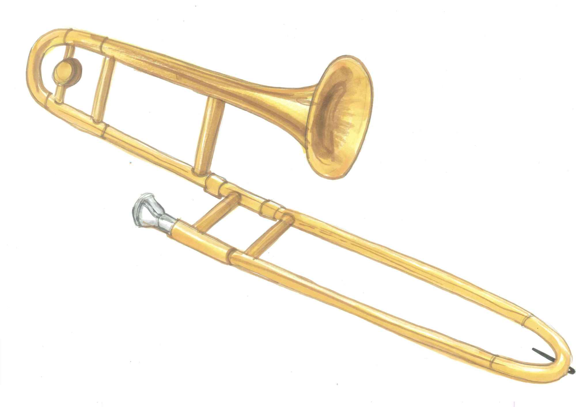 hight resolution of trombone clipart