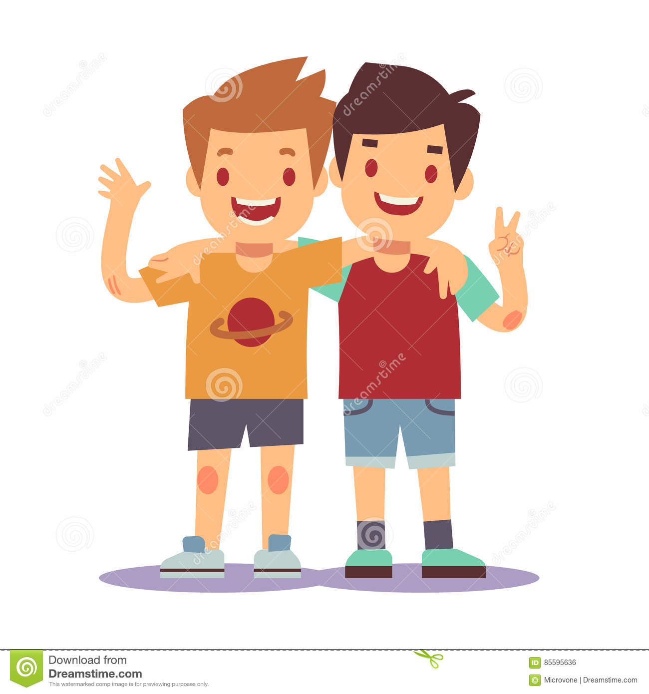 hight resolution of two boys hugging best friends happy smiling kids vector
