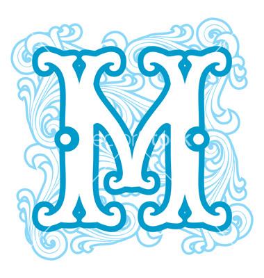 vintage letter m clipart