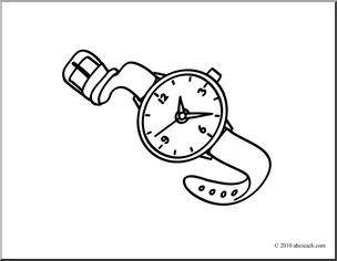 clipart coloring clip words pages wrist basic abcteach template clock preview clipground