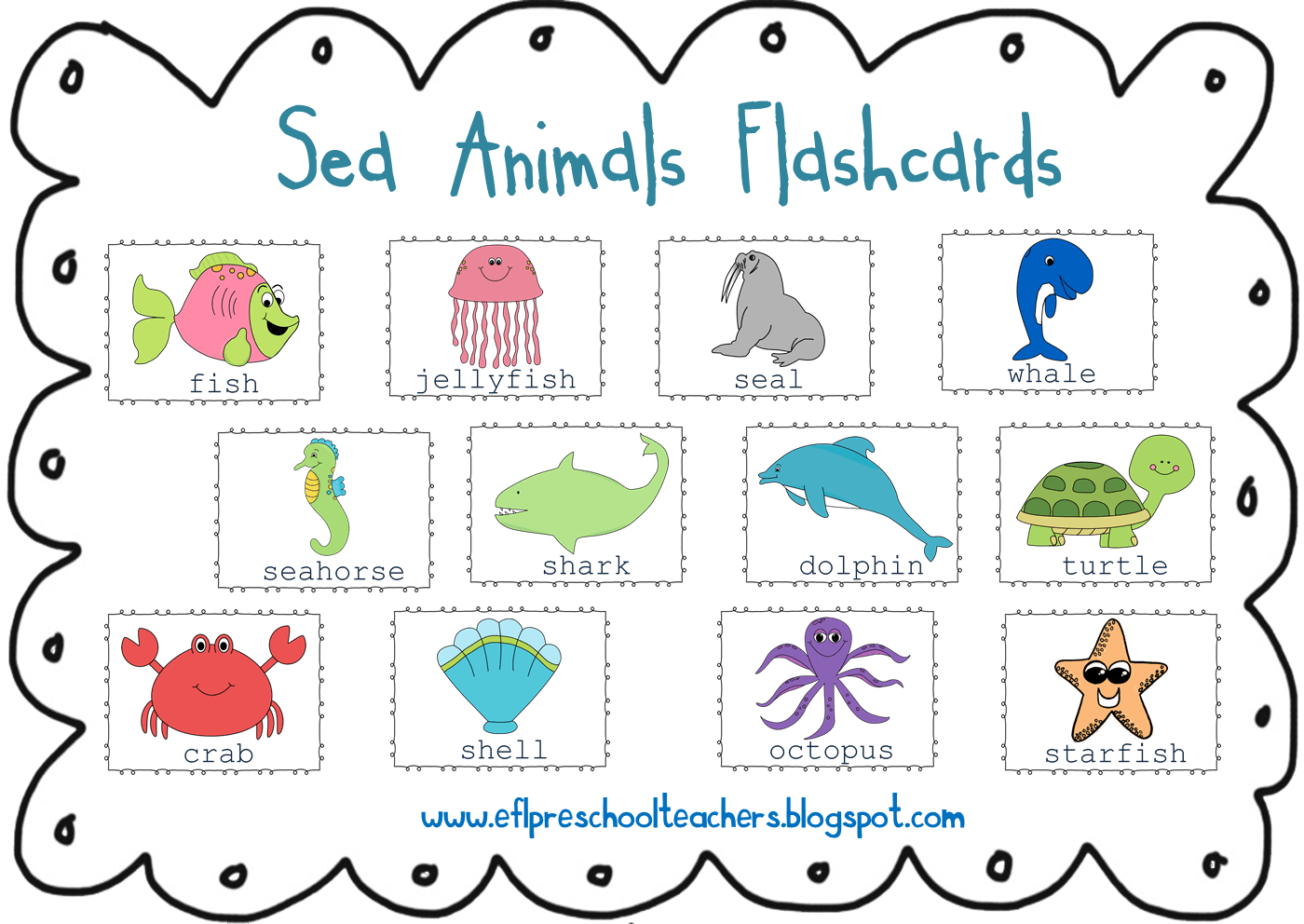 Water Animals Clipart With Names