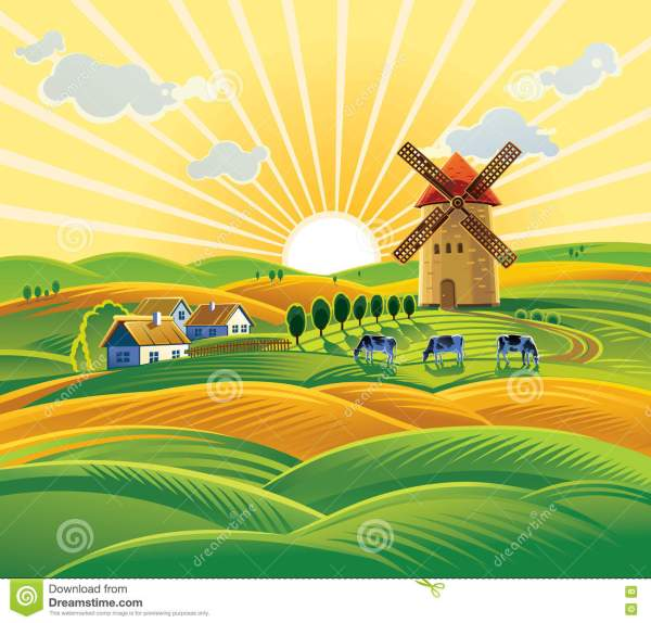 Cartoon Farm Windmill Clip Art