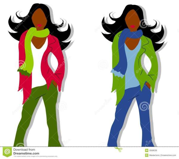 African American Fashion Models Clip Art