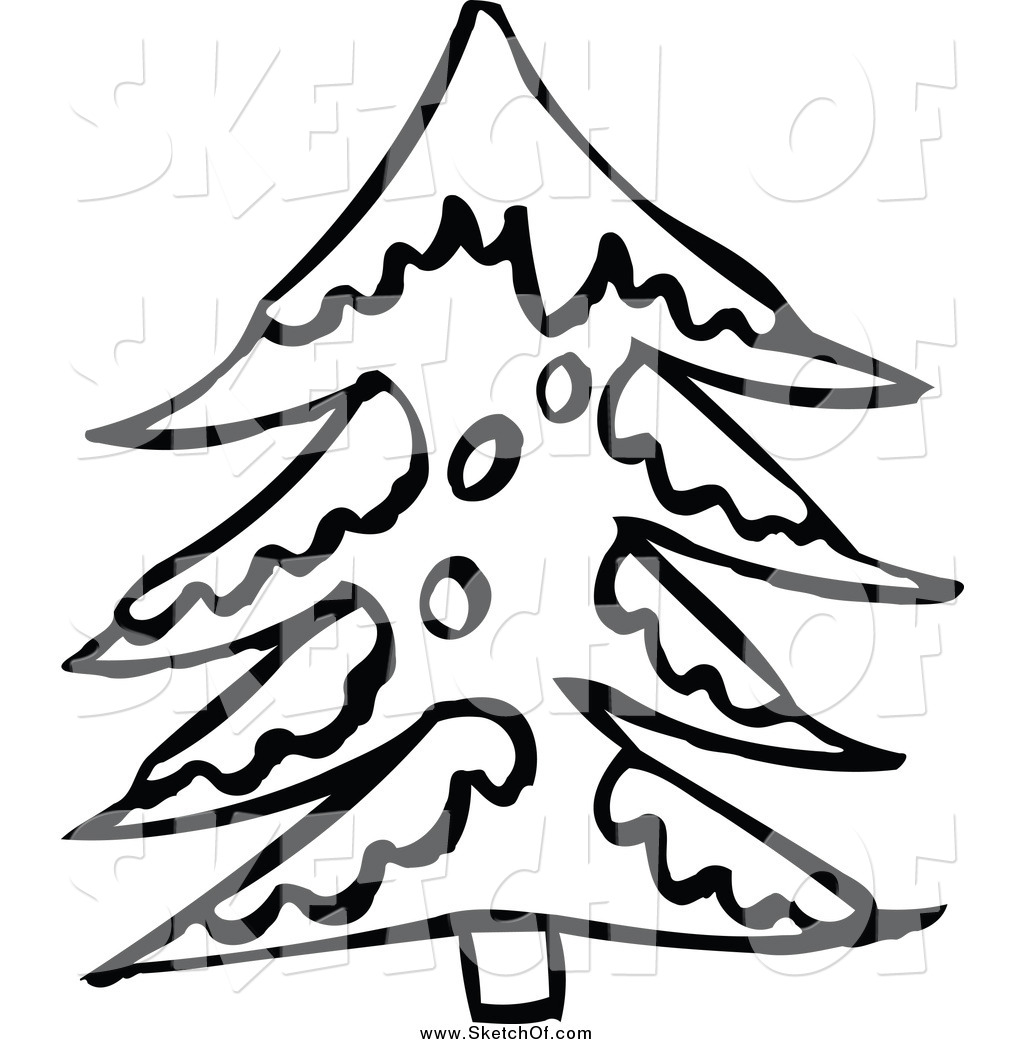 Winter Snow Tree Clipart Black And White