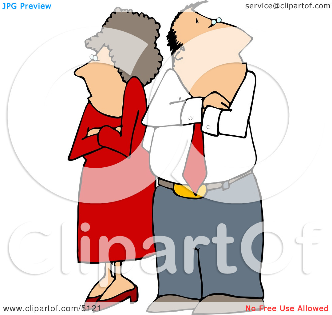 hight resolution of fighting couple husband wife standing with arms crossed