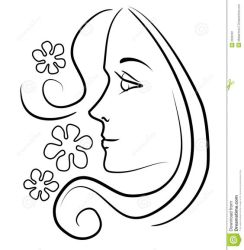 face drawing hair outline clip woman clipart profile long line flowers illustration drawings young faces side flower easy dreamstime flowing
