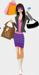 shopping clipart cartoon woman bag carrying illustration clipground