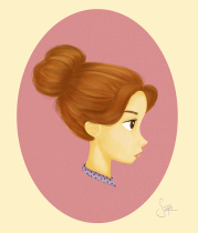 woman with messy bun clipart