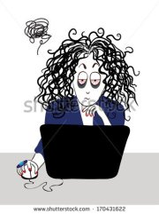 woman with messy hair vector clipart