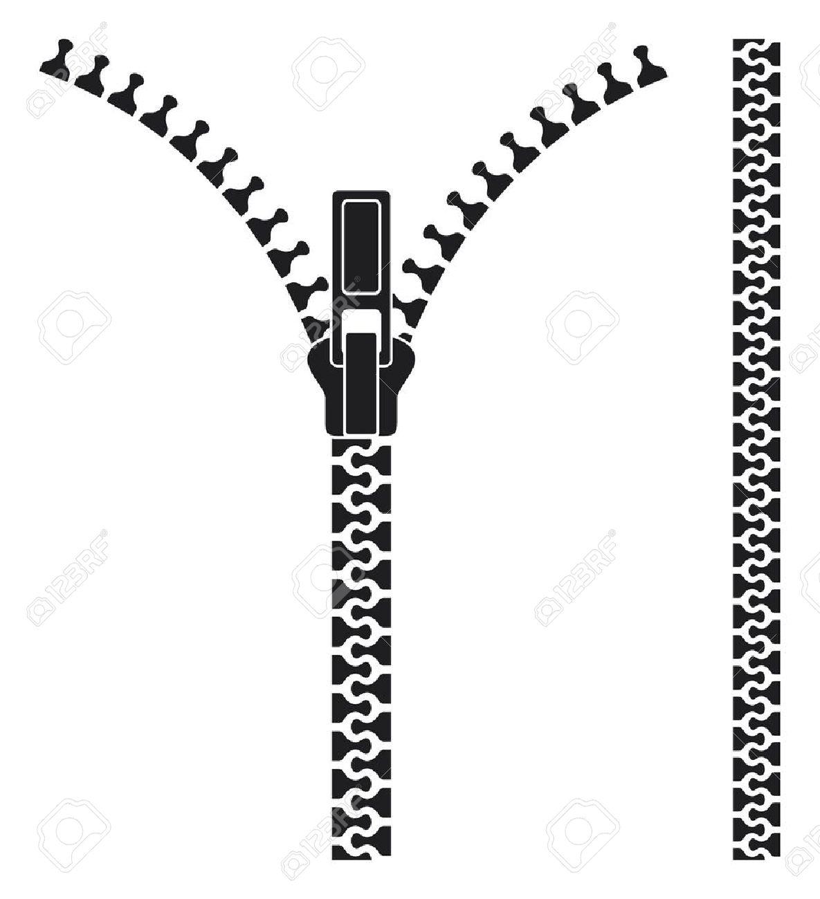 Zipper Black And White Clipart