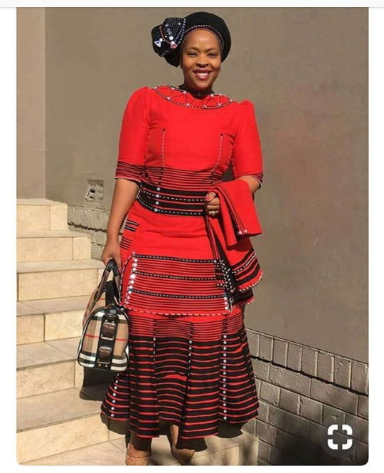 Beautiful Red Xhosa Umbhaco Inspired Dress With Headwrap