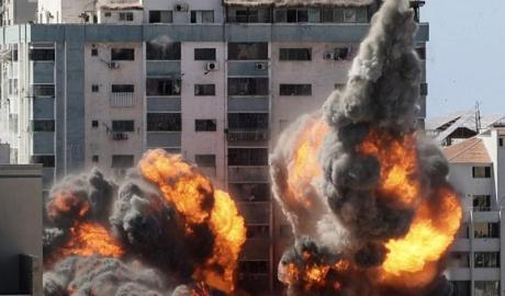 On May 15 in Gaza,the bureaux of the US news agency, the Associated Press, and the Qatari TV broadcaster Al Jazeera were destroyed by targeted Israeli airstrikes. MAHMUD HAMS / AFP