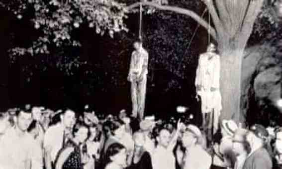 The lynching of Thomas Shipp and Abe Smith in Indiana in 1930 inspired Abel Meeropol to write Strange Fruit. Photograph: AP