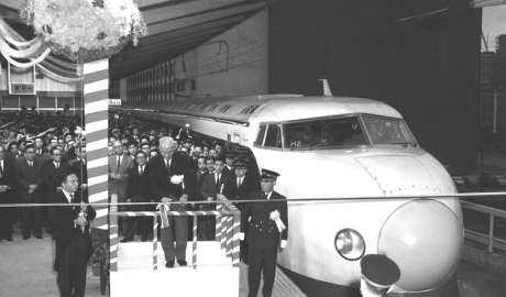 The grand opening of the Shinkansen bullet train at Tokyo in October 1964. Newscom/Alamy