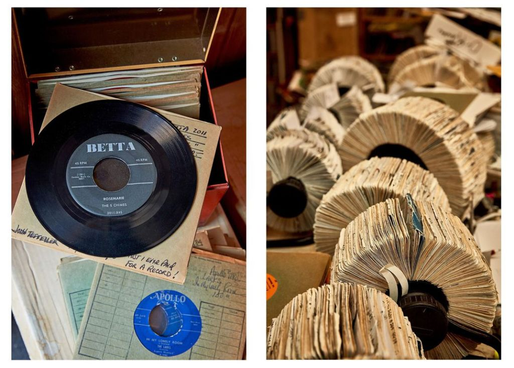 """Left, """"RoseMarie,"""" by the Five Chimes, from the 1950s, typifies the hidden gems in Shively's collections. Right, """"Who needs a computer?"""" Shively asks, when a Rolodex system fills the bill. (Jason Varney)"""
