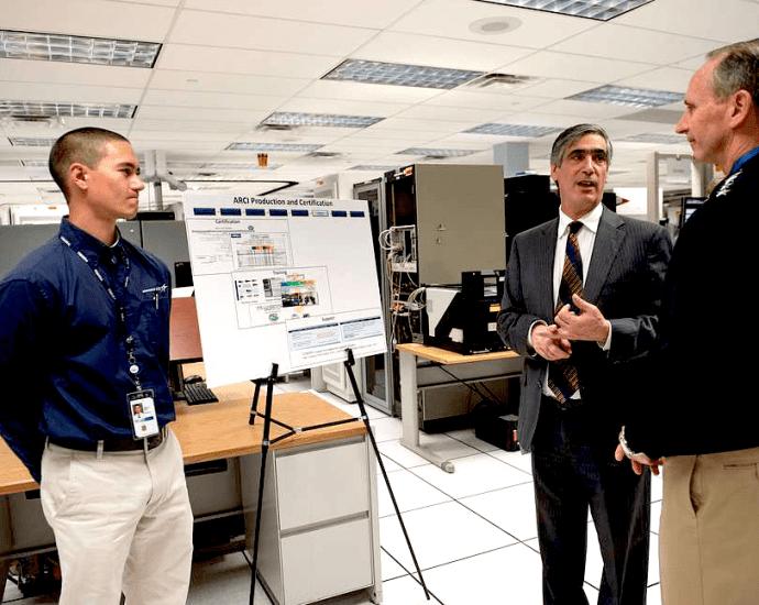 Nov. 13, 2013: Jack Gellen, an executive with Lockheed Martin, escorts Chief of Naval Operations Adm. Jonathan Greenert on a site visit at Lockheed Martin. (U.S. Navy, Peter D. Lawlor)
