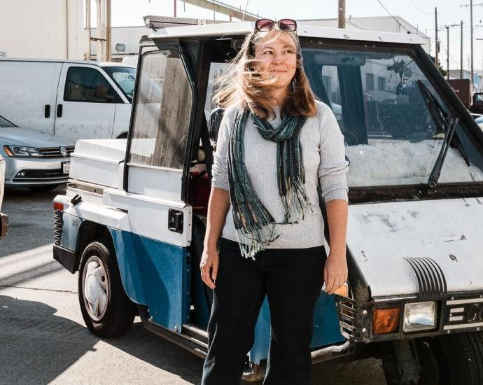 Maxime Philippe with her Go-4 Interceptor in San Francisco.Credit...Carolyn Fong for The New York Times