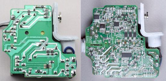 Comparativa de un cargador MegSafe de un MacBook falso (izquierda) de uno original (derecha).