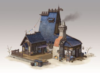 Using 3D Models and Perspective to Create a Fantasy Blacksmith Workshop Art Rocket