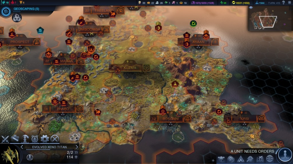 Viewing the map in Beyond Earth